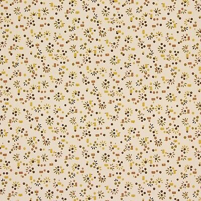 1940s Vintage Wallpaper Brown Yellow Starburst Confetti
