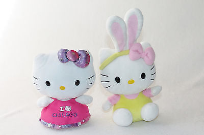 """Ty Hello Kitty I Heart Chicago & Easter Bunny Ears Yellow Plush Doll Lot 6"""" GUC"""
