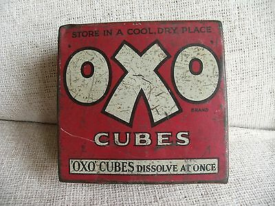 Vintage OXO Cube Tin - Hinged Lid - Originally Held 50 Cubes