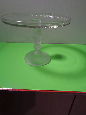 Vintage Rare  EAPG Pedestal Glass Cake Plate With 3 Faces on Frosted Stem 9 Inch