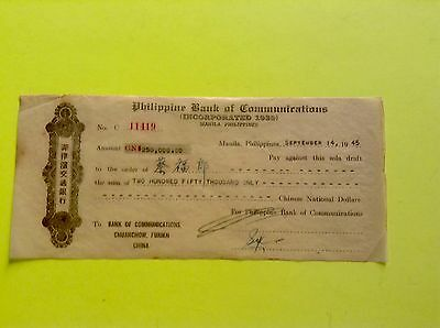 PHILIPPINES 1945 BANK DRAFT to BANK of COMMUNICATIONS, CHUANCHOW, FUKIEN, CHINA