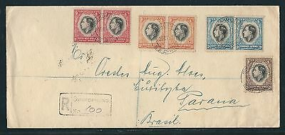 1937 South West Africa KGVI Registered Cover - Swakopmund to Brazil