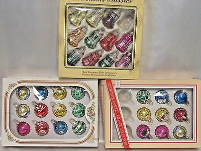 3 Boxes Vintage Christmas Glass Ornaments w Glitter Bells & Balls Bradford