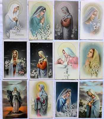 Lot 12 Old Large Catholic Holy Cards Virgin Mary With Lillies