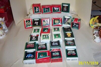 Lot Of 26 Hallmark Miniature Ornaments With Boxes