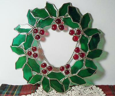 """Leaded Stained Glass Suncatcher Wreath~Holly Leaves & Berries~10.5""""~In Orig Box"""