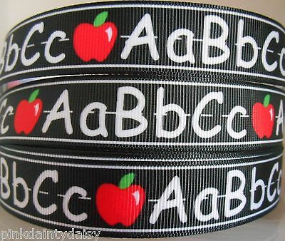 "ABC SCHOOL TEACHER blackboard Grosgrain Ribbon 7/8"" Card Clip Cake 2 & 5 yds DCD"