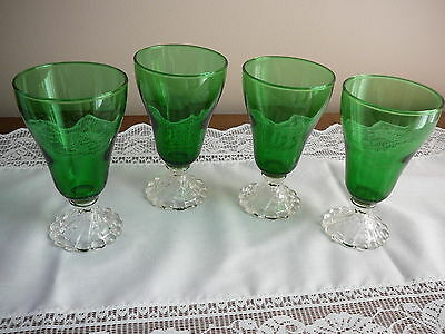 "Lot of 4 Vintage Anchor Hocking Forest Green Boopie Burple 5"" Juice/Water Goblet"