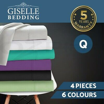 Giselle Bedding 1000TC 4PC Microfibre Bed Sheet Set,Flat,Fitted,Pillowcase QUEEN
