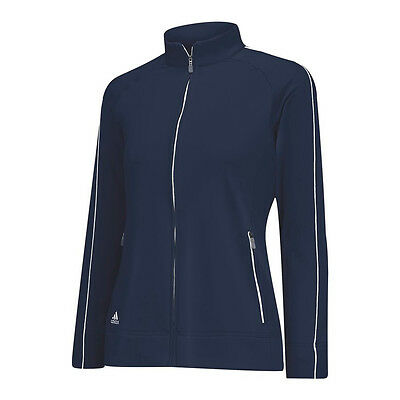 NEW Lady Adidas 3-Stripes Piped Jacket Navy Blue White Size Small Womens