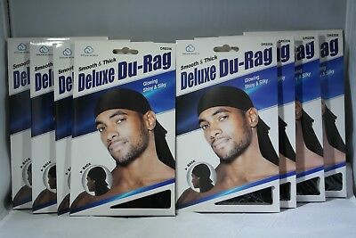 Set of 2 Black brown Smooth /& Thick Shiny /& Silky Deluxe Du Rag Durag annie