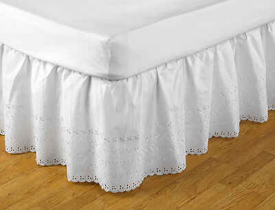 Broderie Anglaise Easy Fit Valance White Single Bed 91cm x 191cm x 41cm