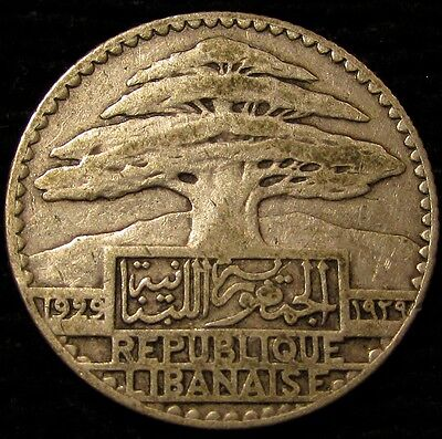 1929 Lebanon 25 Piastres...Sharp, Wholesome, Very Appealing Original...Nice!!