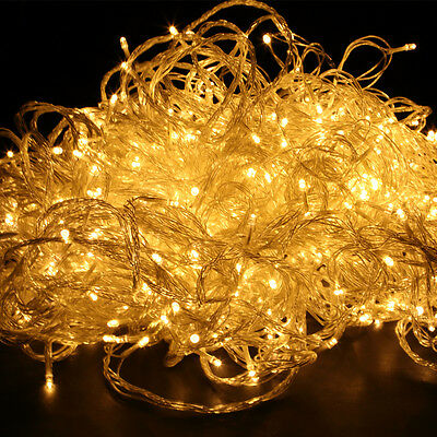 300 Warm White Plug In Low Voltage LED Fairy String Chain Micro Lights Lamp Set