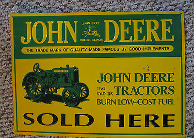 JOHN  DEERE TRACTORS SOLD HERE METAL TIN TRADEMARK SIGN Made in USA US