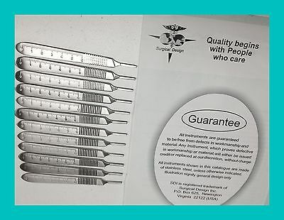 12 Scalpel Handle # 3 With SCALES Surg Dental Veterinary        Stainless Steel
