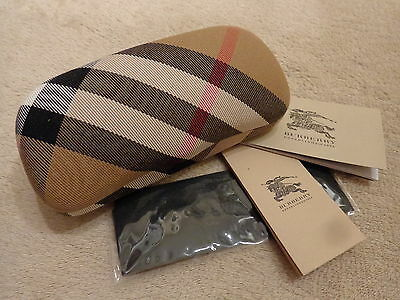 Burberry Sunglasses Case With Cleaning Cloth and Paperwork.