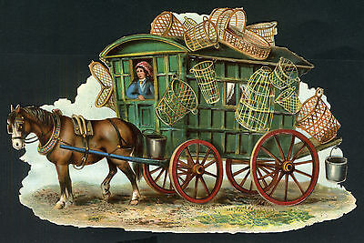 Victorian  Scrap GYPSY CARAVAN Basket Seller HORSE DRAWN Embossed CHROMO LITHO