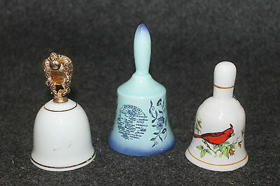 "Vintage 3 Bells 2 Porcelain 1 Ohio Ceramic 3 1/2"" - 4"" Tall"