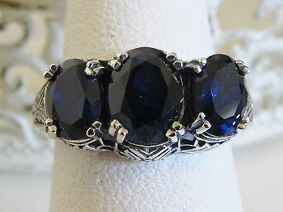 Sapphire Sterling Silver Filigree Three Stone Ring Antique Vintage Victorian