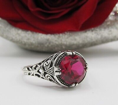Ruby Filigree Sterling Silver Engagement Ring Vintage Art Deco Style Sz 7