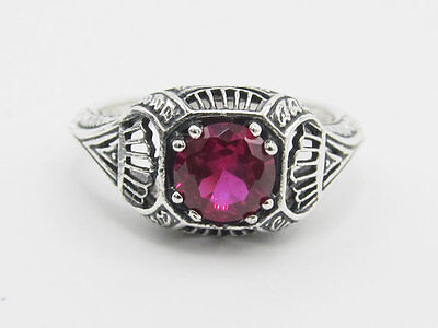 Ruby Filigree Sterling Silver Ring Vintage Art Deco Style Sz 6.75
