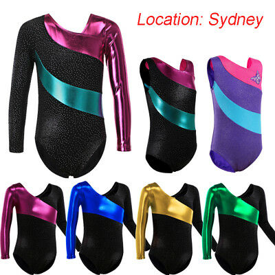 AU Girls Shiny Gymnastics Leotards Ballet Dance School Training Tank Suit 3-14Y