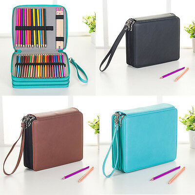120 Slots Zipper Pencil Case Stationery Cosmetic Make Up Bag Pen Storage Pouch