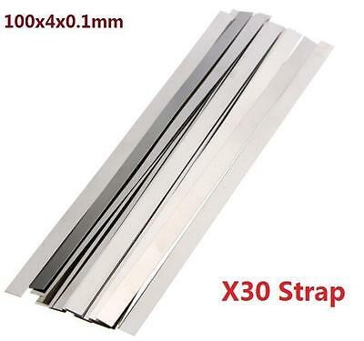 Pure Nickel 99.96% Low Resistance Ni Metal Strap Sheet Set 0.1mm*4mm*100mm X30