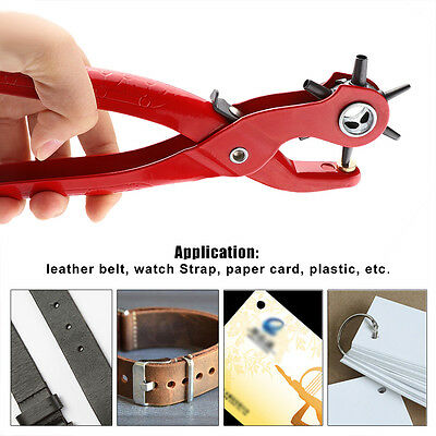 Red Puncher Heavy Duty Leather Hole Punch Hand Pliers Belt Holes Punches