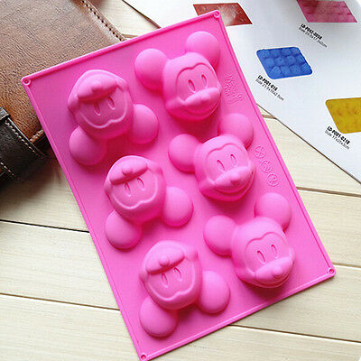 6 mickey Mouse Cake Mold Practical Cookie Mould Silicone Soap Chocolate Mold