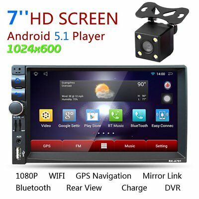 "7"" Android 4.4 Double DIN SAT NAV Car GPS MP5 Player Stereo Radio WiFi 3G Touch"