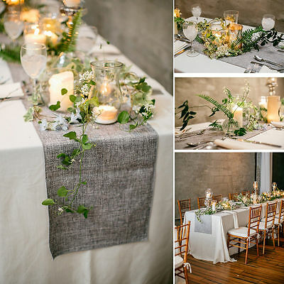 Hessian Jute Burlap Imitate Linen Vintage Wedding Dinner Party Table Runner Wide