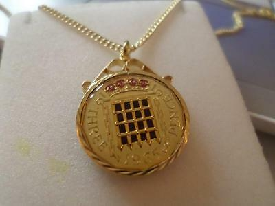 Vintage Enamelled Threepence Coin Pendant & Necklace 1965. Birthday Xmas Present
