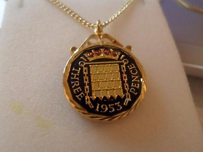 Vintage Enamelled Threepence Coin Pendant & Necklace 1953. Birthday Xmas Present