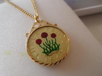 Vintage Enamelled Threepence Coin Pendant & Necklace 1943. Birthday Xmas Present