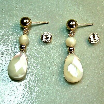 14k solid yellow gold teardrop faceted natural Mother of Pearl  elegant earrings