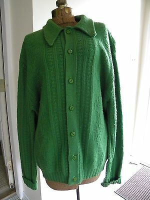 """Vintage Berwick Knitting Mills CABLE KNIT WOOL Cardigan Sweater Green 50"""" BUST"""