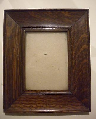 Small Antique Arts And Crafts Oak Wide Frame Quartersawn