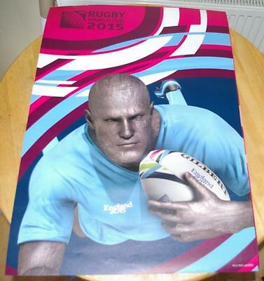 2015 RUGBY WORLD CUP ADVERTISING POSTER - NEW & UNUSED (pink/blue)