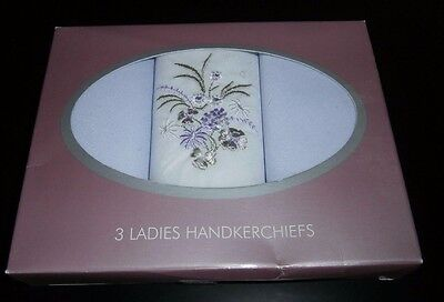 THREE BOXED LADIES HANDKERCHIEFS ~ POLYESTER & COTTON ~ LILAC & WHITE by ANUCCI
