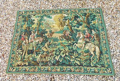 Vintage French Aubusson Tapestry In Excellent Condition Lovely Shades Of Greens