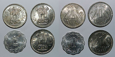 INDIA : 4 X UNCIRCULATED COINS - 3 x Rupee 1976, 1 x 10 Paise 1975 - EXCELLENT