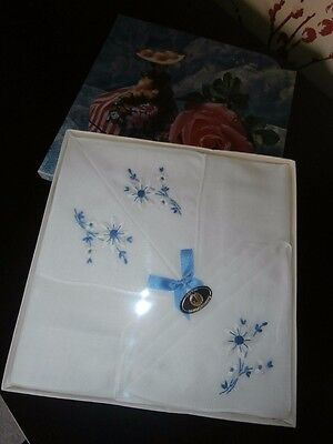 THREE 1960s RETRO LADIES HANDKERCHIEFS ~ WHITE COTTON ~ BLUE FLORAL EMBROIDERY