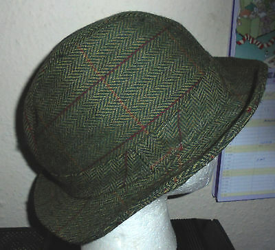 vintage check trilby green tweed hat wool perfect condition FREE FAST POST