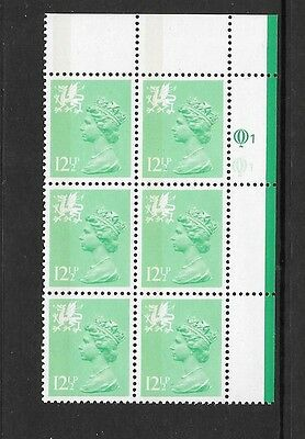 Wales - 12½p - XWL4 - cylinder block of 6 - cyl Q1Q1 upper  - unmounted mint