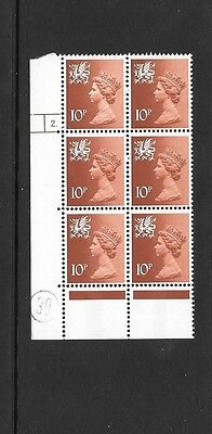 Wales - 10p - XW40 - cylinder block of 6 - cyl 2 DOT ph 20  - unmounted mint