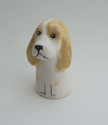 MERRYFIELD POTTERY-Hand Painted Cocker Spaniel Candlesnuffer