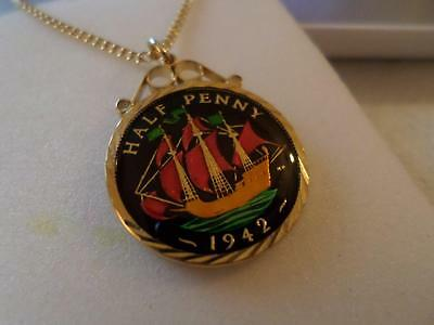 Vintage Enamelled Half Penny Coin Pendant & Necklace 1942. Birthday Xmas Gift
