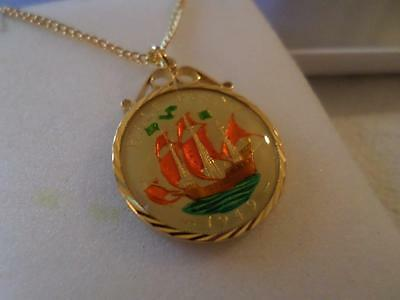 Vintage Enamelled Half Penny Coin Pendant & Necklace 1949. Birthday Xmas Gift